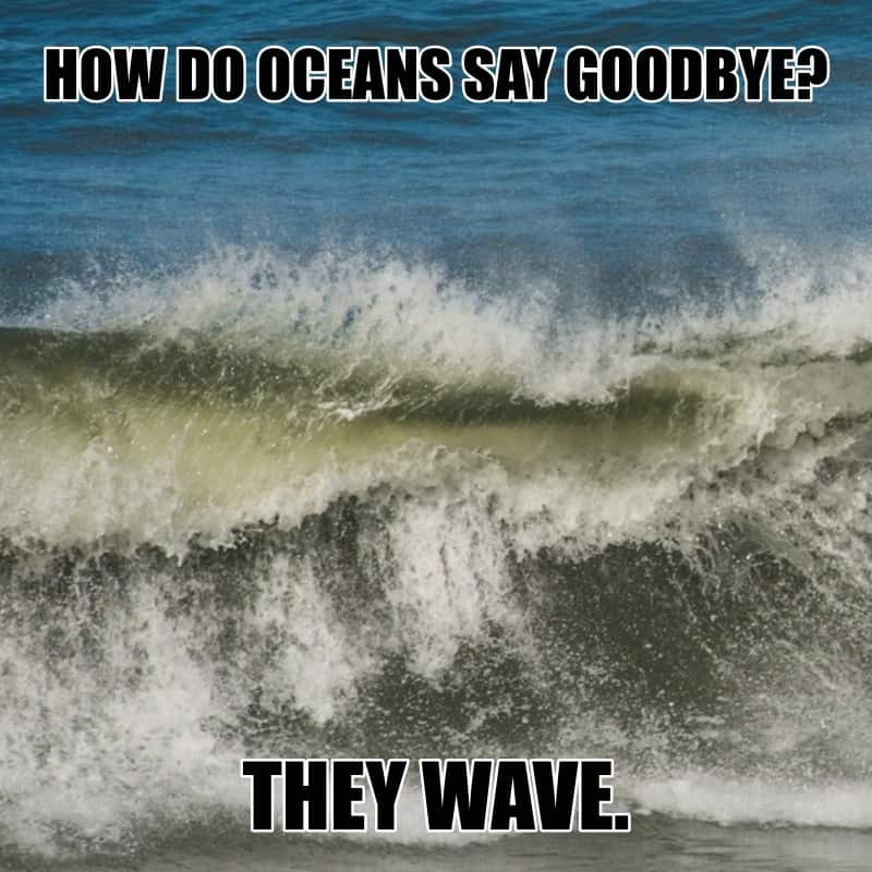 How do oceans say goodbye They wave