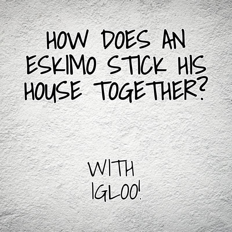 How does an Eskimo stick his house together With igloo