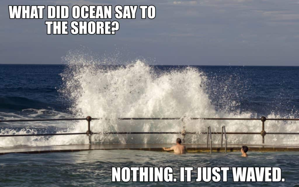 WHAT DID OCEAN SAY TO THE SHORE NOTHING. IT JUST WAVED