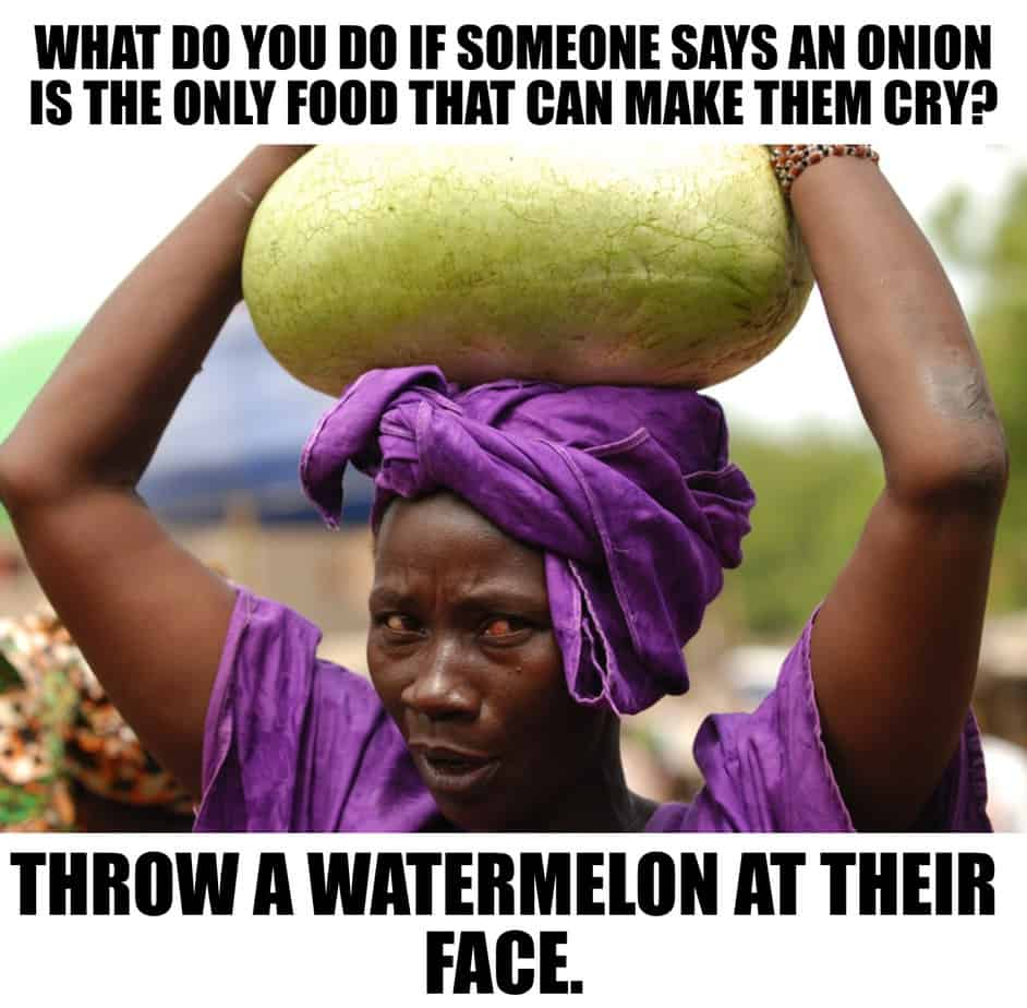WHAT DO YOU DO IF SOMEONE SAYS AN ONION IS THE ONLY FOOD THAT CAN MAKE THEM CRY THROW A WATERMELON AT THEIR FACE