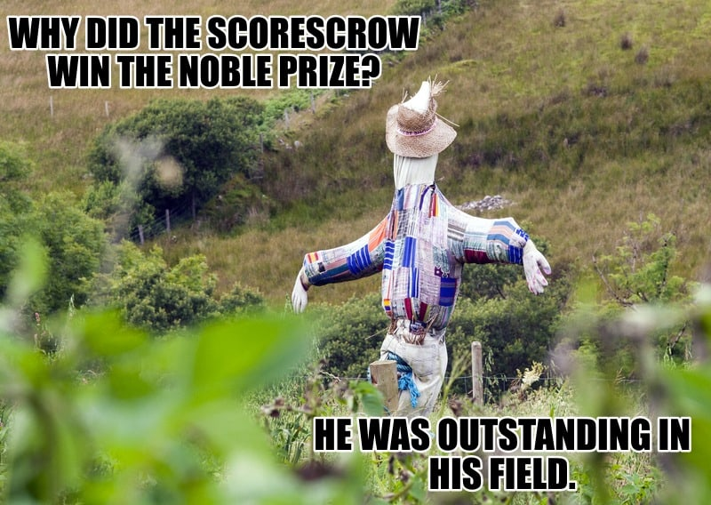 WHY DID THE SCORESCROW WIN THE NOBLE PRIZE HE WAS OUTSTANDING IN HIS FIELD