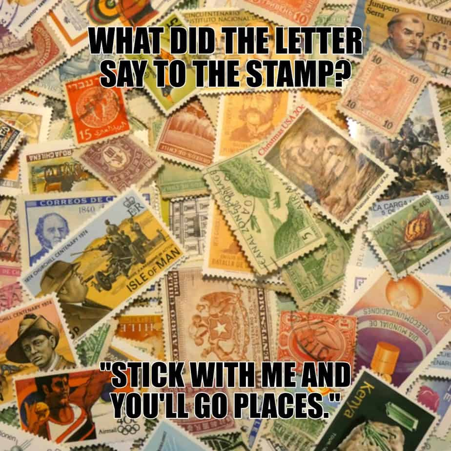 What did the letter say to the stamp Stick with me and youll go places