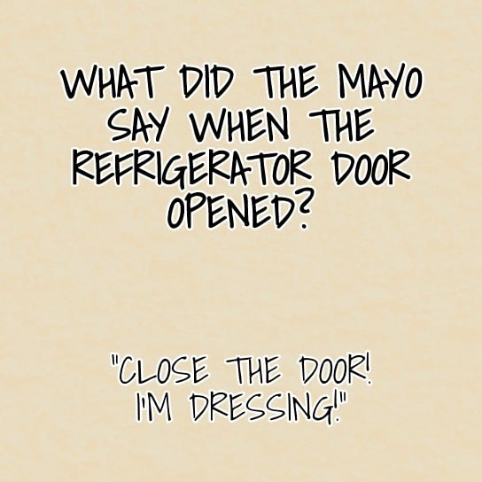 What did the mayo say when the refrigerator door opened Close the door Im dressing