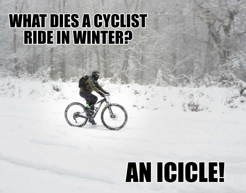 What dies a cyclist ride in winter An icicle
