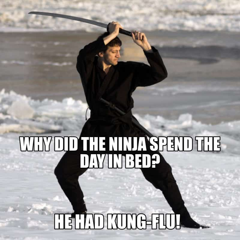 Why did the ninja spend the day in bed He had kung flu