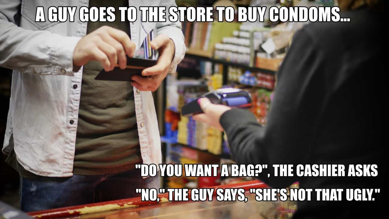 A guy goes to the store to buy condoms...