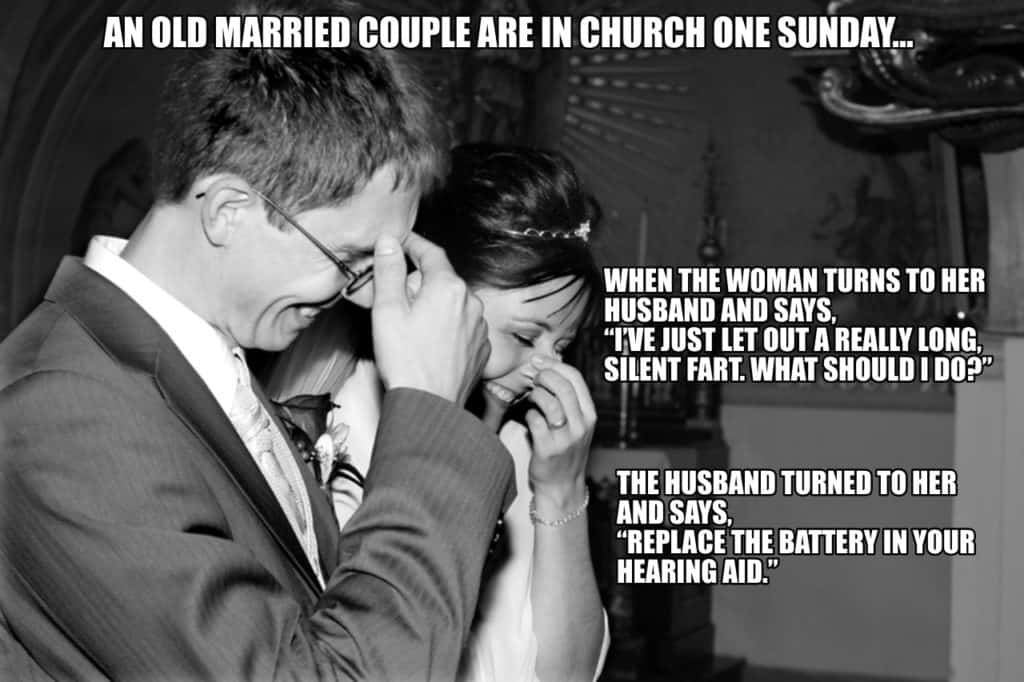 An old married couple are in church one Sunday…