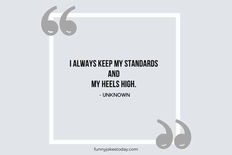 Jokes Quotes - I always keep my standards and my heels high.