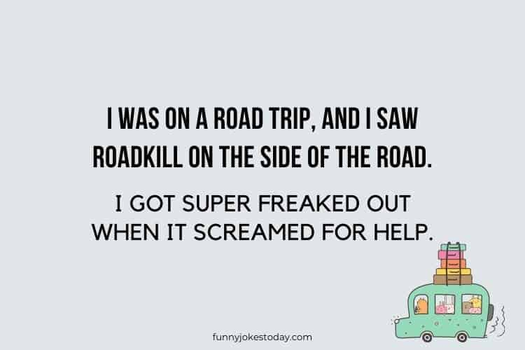Road Trip Jokes - I was on a road trip, and I saw roadkill on the side of the road.