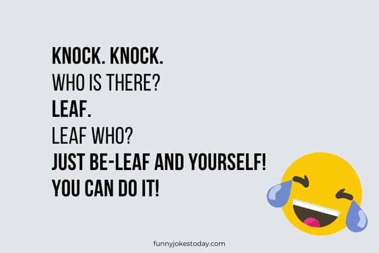 Knock. Knock. Who is there Leaf.