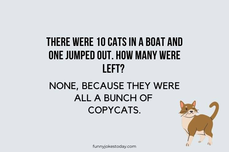 Cat Jokes - There were 10 cats in a boat and one jumped out. How many were left?